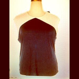 NWT LRL Plus Size 3X Navy/Ivory Short Sleeve Top